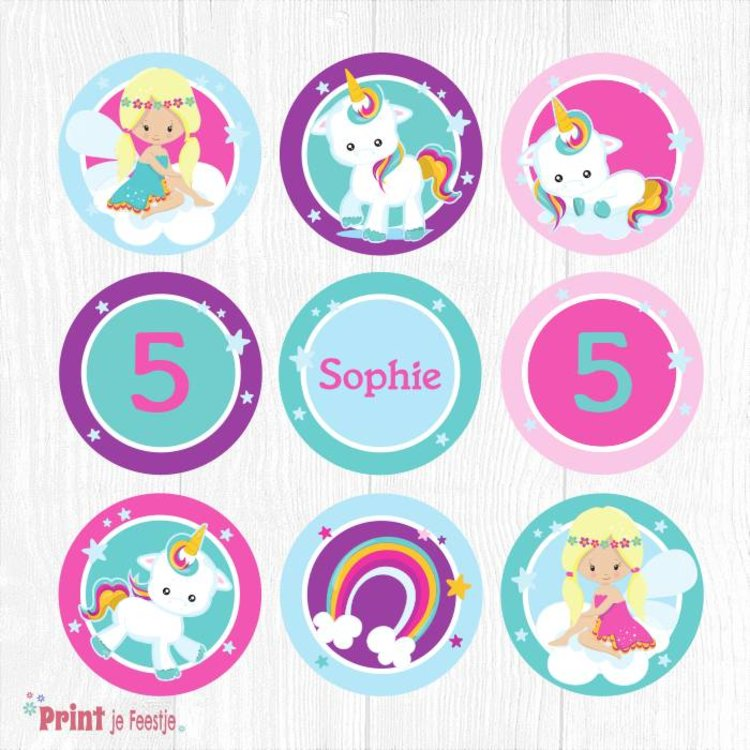 Eenhoorn Cupcake Toppers, Unicorn Cupcake Toppers
