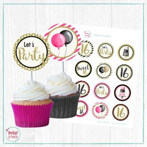 Sweet Sixteen Cupcake Toppers