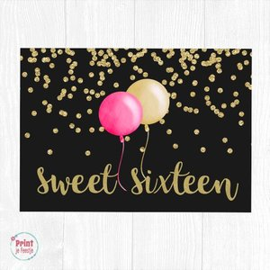Sweet Sixteen Welkomstposter Ballonnen