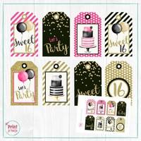 Labels Sweet Sixteen DIY