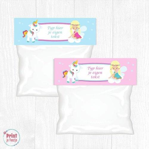 Eenhoorn / Unicorn Traktaktiezaklabels Pastel