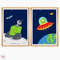 Set van 2 Posters Ruimte Maankarretje en Ufo
