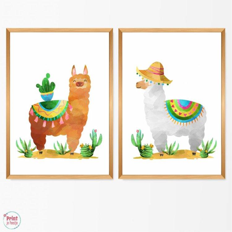 Set van 2 Posters: Lama cactus en lama strohoed