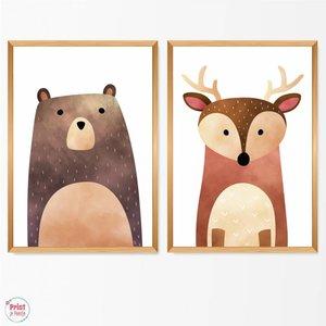 Set van 2 Posters Bosdieren - Beer en Hert
