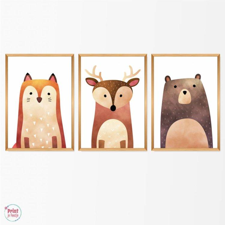 Set van 3 Posters Bosdieren - Beer, Hert en Vos