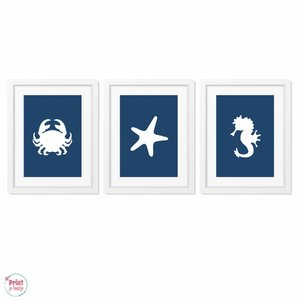 Posters Silhouetten Zeester Zeepaardje Krab - Marineblauw