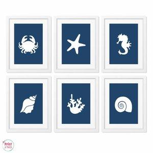 Posters Silhouetten Zee Strand - Marineblauw 6x