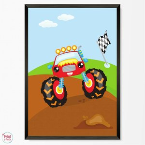 Poster Monstertruck Rood