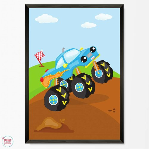 Poster Monstertruck Blauw