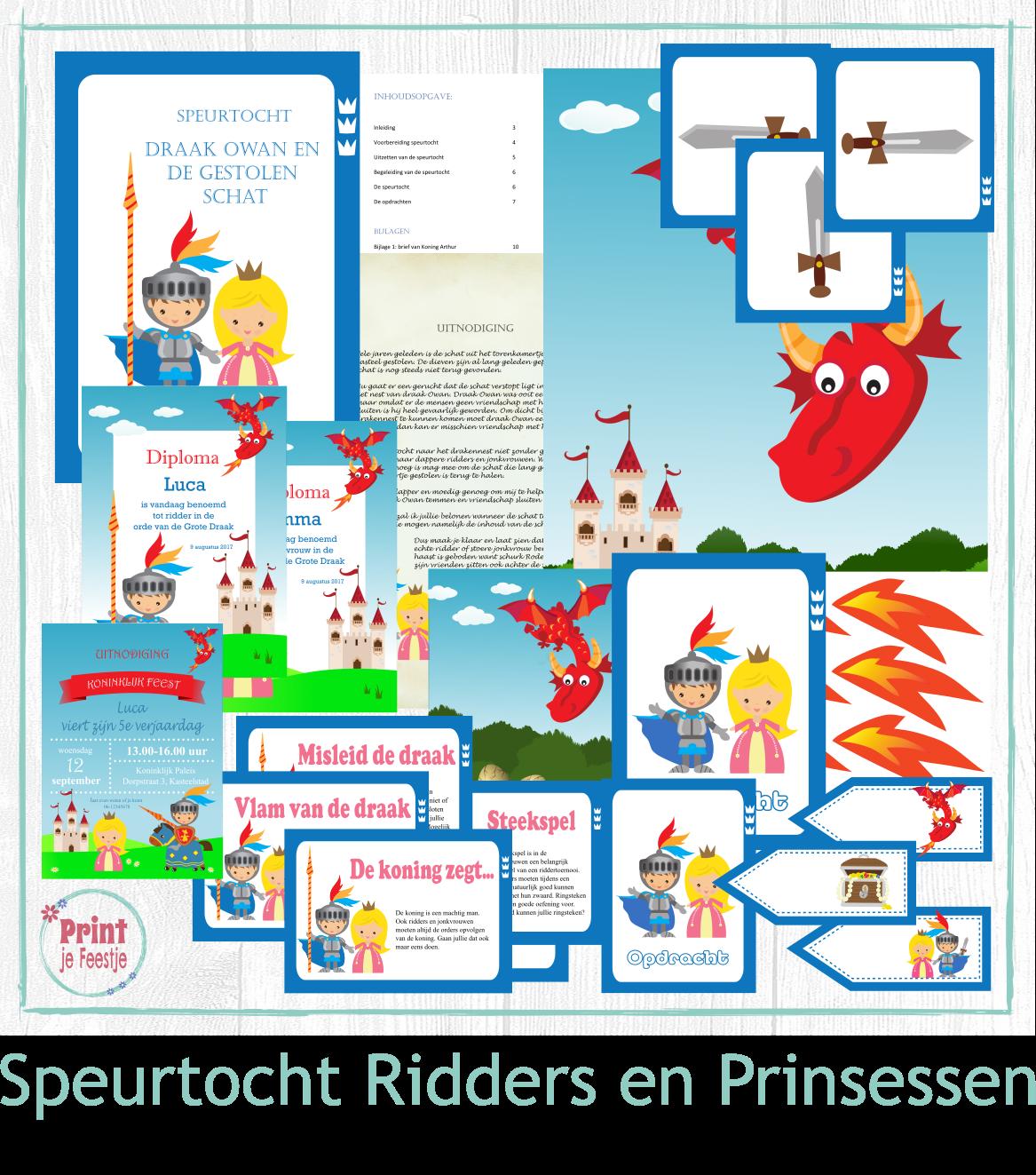 Ridders en Prinsessen Speurtocht - print je Feestje