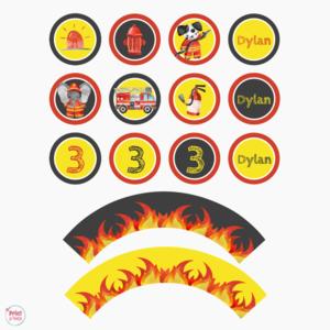 Cupcake Toppers en Wrappers Brandweer