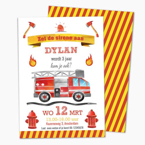 Uitnodiging brandweerfeestje
