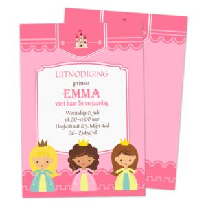 Uitnodiging Prinsessen Kinderfeestje