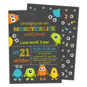 Uitnodiging kinderfeestje Monsters krijt