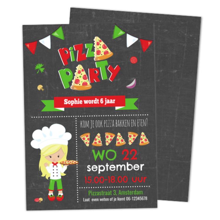 Uitnodiging Pizza Feestje - Meisje - Krijt