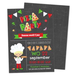 Uitnodiging Pizza Feestje - Jongen Krijt