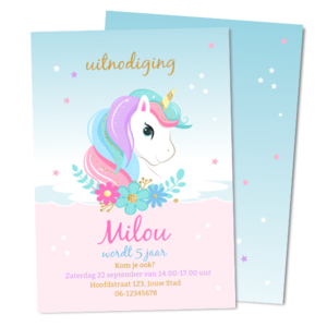 Uitnodiging Eenhoorn / Unicorn Hoofd