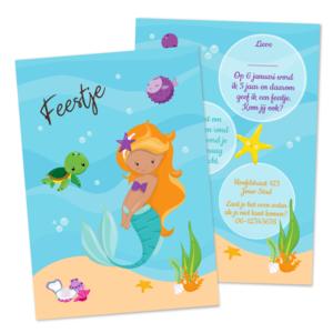 Uitnodiging Kinderfeestje Zeemeermin Blond