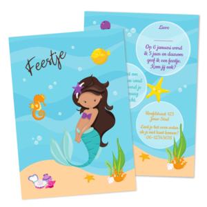 Uitnodiging Onderwaterfeestje Zeemeermin Bruin Haar