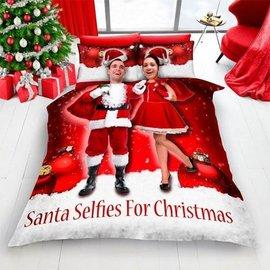 Santa Selfie kerst dekbedovertrek rood