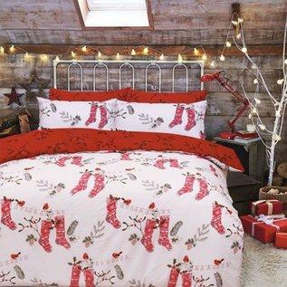 Kerst dekbedovertrek met kerstsokken, hulst