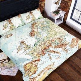 Worldmap dekbedovertrek 200x200 cm