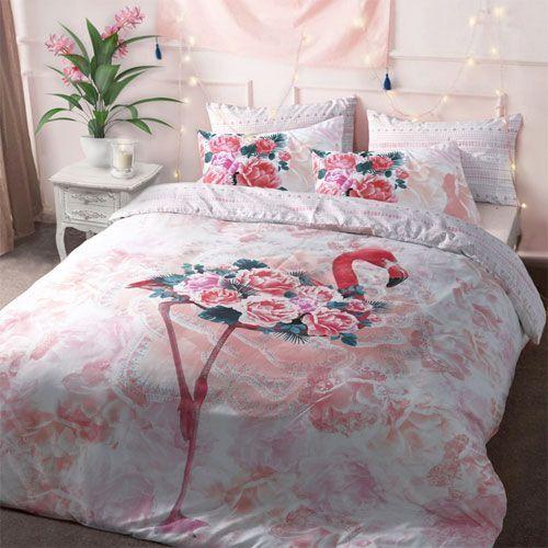 Bed Met Rozen.Dekbedovertrek Flamingo Rozen Blended Katoen Decoware