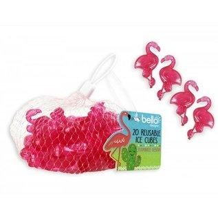 Flamingo plastic ijsblokjes (Per 20 st)