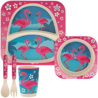 Bamboe kinderservies flamingo