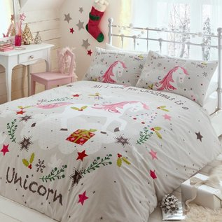 Kerst dekbedovertrek Wishing for Unicorns