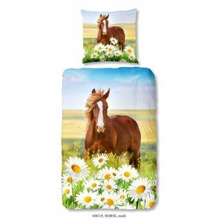 Good morning Paarden dekbedovertrek met bruin paard 140x220 cm