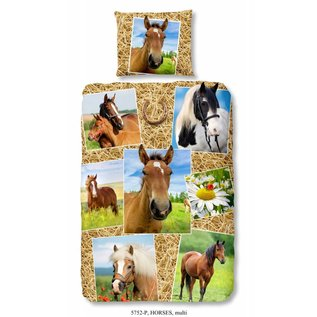 Good morning Paarden dekbedovertrek met diverse paarden 140x220 cm