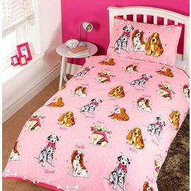 Roze dekbedovertrek met hondjes