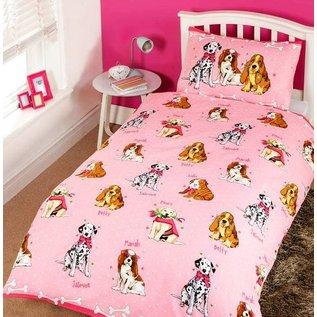 Roze dekbedovertrek met hondjes 135x200 cm