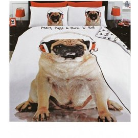 Mopshond dekbedovertrek Peace, Pugs & Rock 'n Roll 230x220 cm