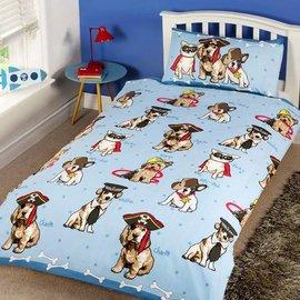 Blauw dekbedovertrek met hondjes