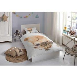 Good morning Dekbedovertrek Sleeping puppy & kitten