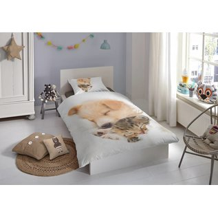 Good morning Dekbedovertrek Sleeping puppy & kitten 140x220 cm
