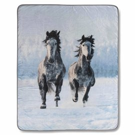 Good morning Fleece plaid Snow horses