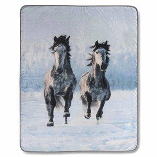 Good morning Fleece plaid Snow horses