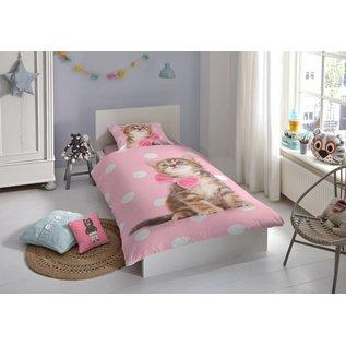 Good morning Flanel dekbedovertrek Sweet cat 140x220 cm