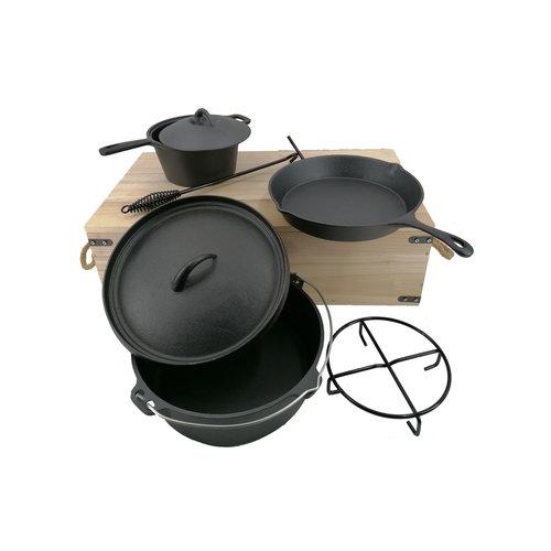 LANDMANN BBQ accessoires Dutch oven set, gietijzer in kist
