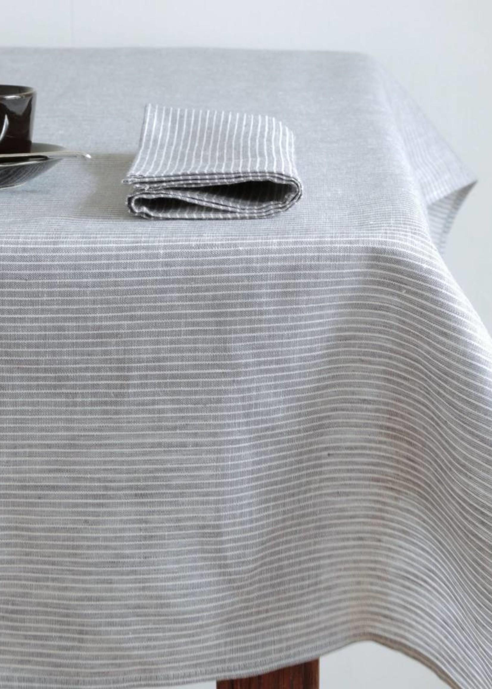 Linnen servet - grijze en witte strepen
