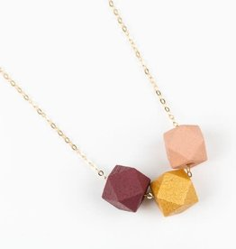 Jacqueline & Compote Ketting   Burgundy - Goud - Roze