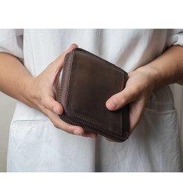 Leren portemonnee kort - bruin