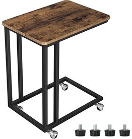 Vasagle Side Table On Wheels - Vintage Side Tables - Industrial - Wood | Black