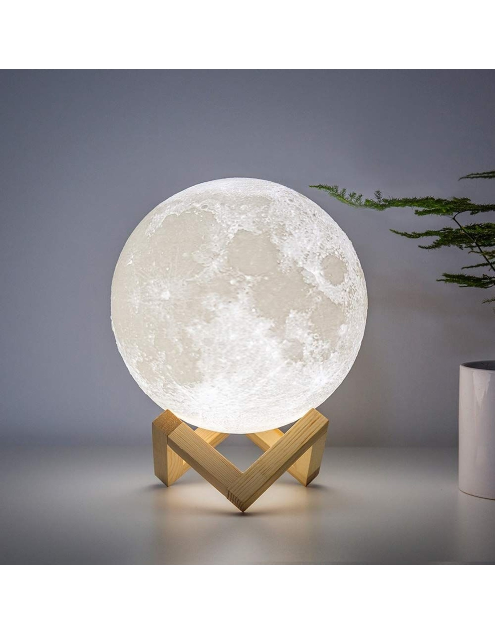 Parya Official 3D Moon Lamp - LED on wooden stand