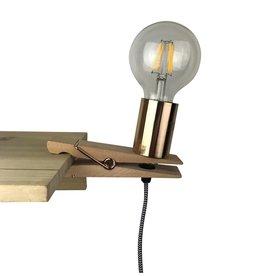 Parya Home Parya Home - Wooden Peg Lamp - Golden Fitting