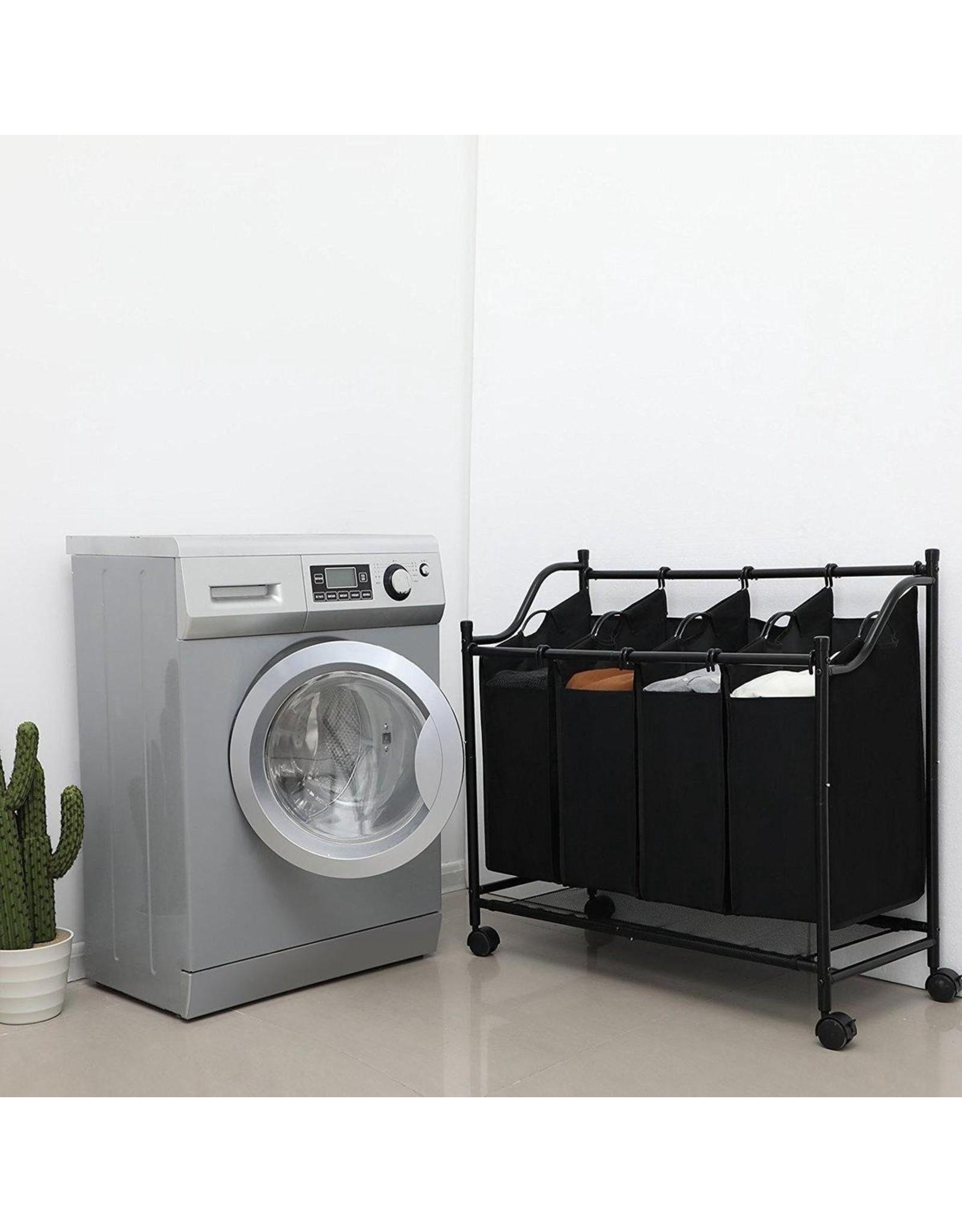 Parya Home Parya Home -  Stevige Wassorteerder - Wasmand op Wieltjes met 4 Uitneembare Vakken - 140L - Zwart