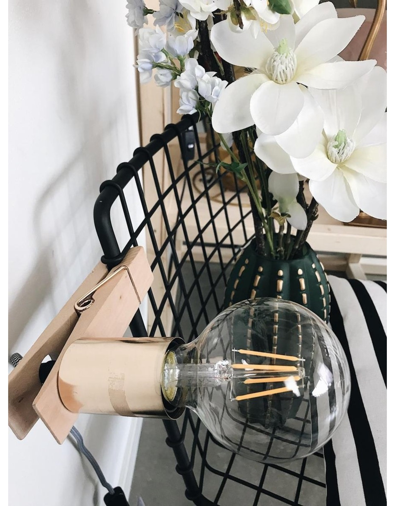 Parya Home Parya Home - Wooden Peg Lamp - Golden Fitting